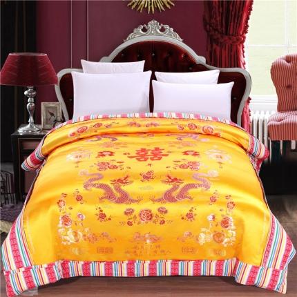 浩情国际 婚庆单品绸缎被套系列龙凤呈祥-绸缎被套-泥黄