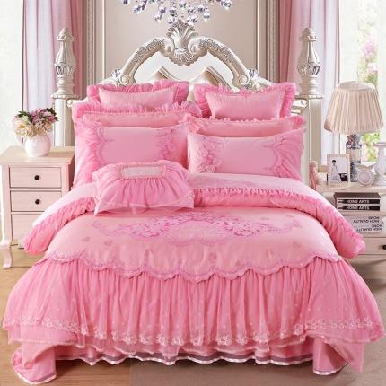 浩情国际 80S蕾丝系列一往情深粉色8-9-10件套床盖款