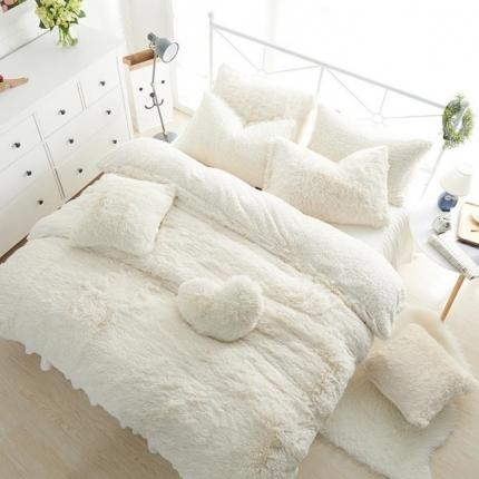 艾美玲家纺 水貂绒四件套床裙款米白色