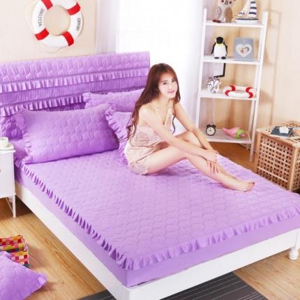麦蕾迪家居 磨毛纯色夹棉床笠 紫色