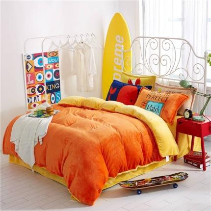 绒品之家 230克法莱绒双拼四件套床单款橙黄橘