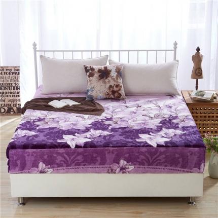 绒品之家 160克单面法莱绒印花床笠紫色百合