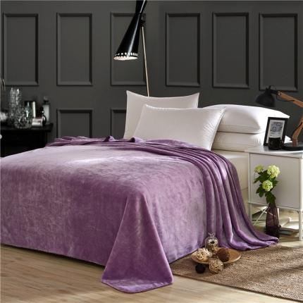 绒品之家 素色三角针毛毯浅紫