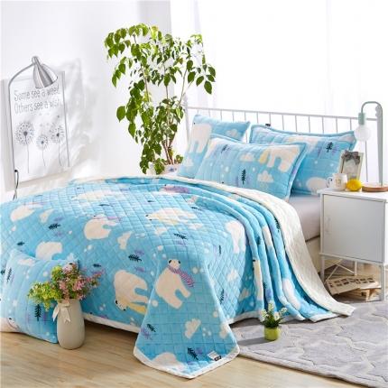 绒品之家 三层加厚双层夹棉复合毯北极熊