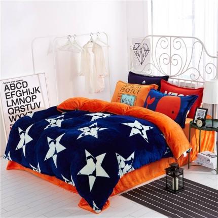 绒品之家 230克法莱绒印花四件套床单款星动