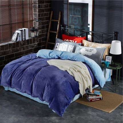 绒品之家 230克法莱绒双拼四件套床单款宝蓝+淡蓝