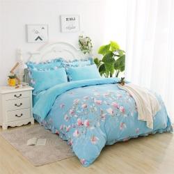 涞茵国际 韩版法莱绒珊瑚绒A棉B绒荷叶边四件套花枝意满-水蓝