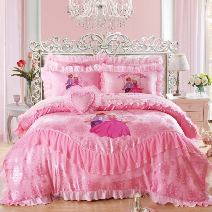 浩情国际 全棉贡缎长绒绵蕾丝四件套红粉佳人-玉色