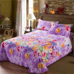 艾羽家纺 全棉高级磨毛澳棉系列单品床单 花园情-紫