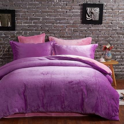 瀚之宝家纺 素色双拼貂狐绒四件套紫-粉