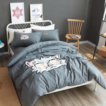 杰米家纺 水洗棉贴布绣四件套床单款灰