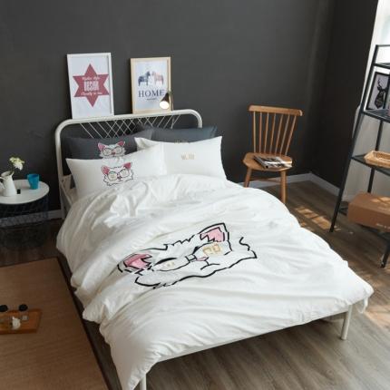 (总)杰米家纺 水洗棉贴布绣四件套床单款