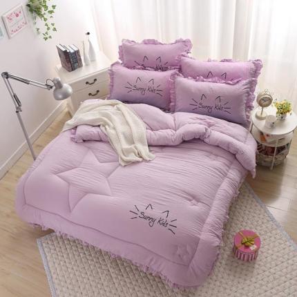 圣卓家纺 温暖舒适韩款水洗棉时尚冬被时尚紫
