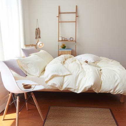 纯优家纺 新良品风纯色磨毛系列四件套浅米