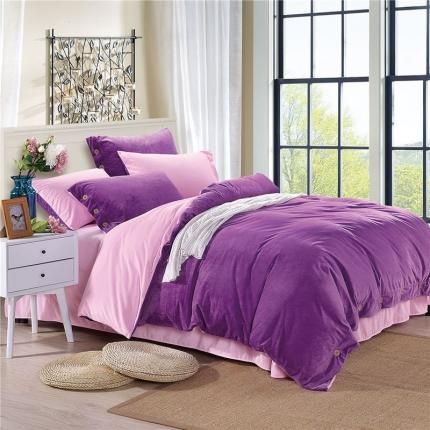 米亚家纺 宝宝绒双拼纽扣款四件套 紫粉