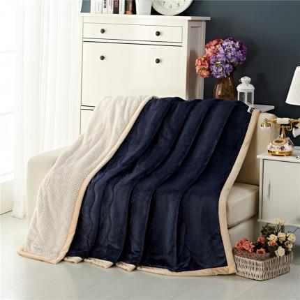 品乐家纺 三层加棉加厚贝贝绒毯藏青色
