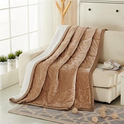 品乐家纺 三层加棉加厚贝贝绒毯驼色