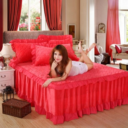 麦蕾迪家居 法莱绒纯色夹棉床裙砖红色