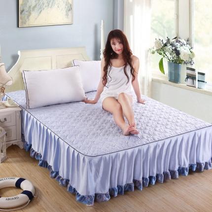 麦蕾迪家居 超柔短毛绒芳心绗绣床裙蓝色