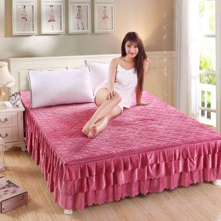(总)麦蕾迪家居 水晶绒绗绣花边床裙+绗绣三层床裙
