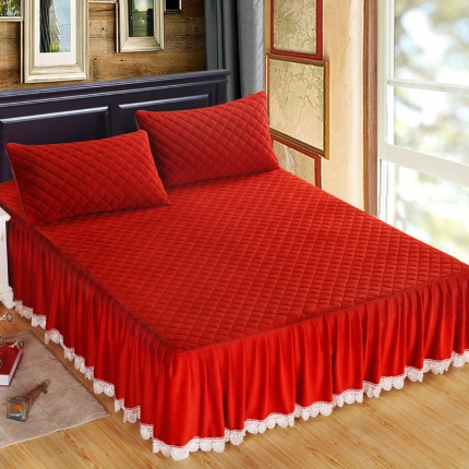麦蕾迪家居 水晶绒绗绣花边床裙+绗绣三层床裙砖红