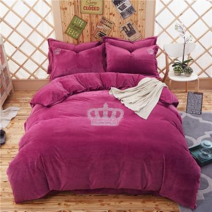 星尚家纺 加厚宝宝绒皇冠烫钻四件套皇冠-玫紫