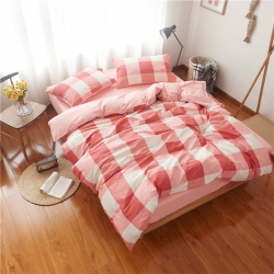 静家居 日式简约条格全棉活性四件套床单款悦格-粉
