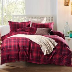 私享家家纺 温暖舒适棉法莱绒四件套红色格纹