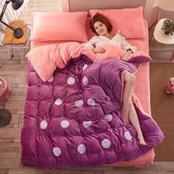 优贝家纺 法莱绒贴布绣花四件套浅紫粉圆圈