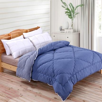 初舍家纺 温暖舒适水洗棉冬被蓝细条