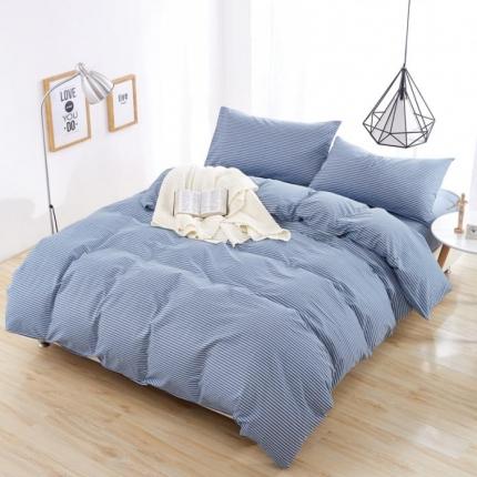 色织生活 色织小提花60S四件套60S蓝+白