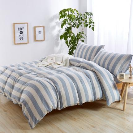 色织生活 全棉色织树皮皱四件套树皮皱-蓝条