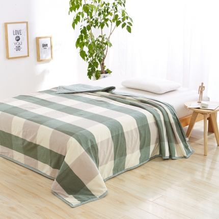 色织生活 亲肤舒适水洗棉花夏被绿大格
