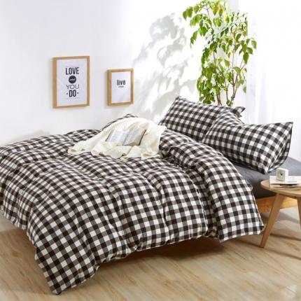 色织生活 简约宜家水洗棉四件套床单款咖啡中格