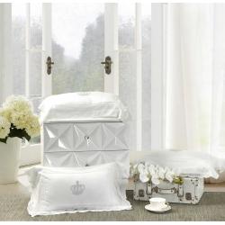 一岚家居 60s天丝枕头白色蕾丝抱枕纯色靠垫 含芯