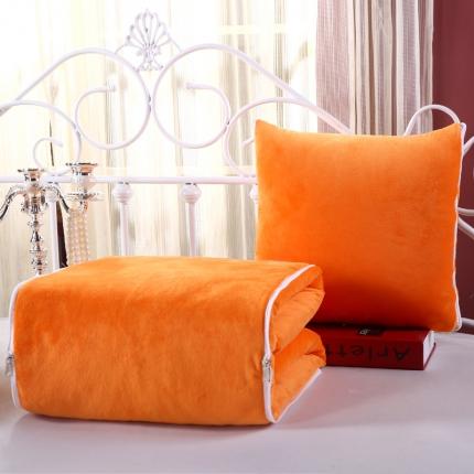 甜家美居 宝宝水晶绒多功能一体抱枕被桔黄色