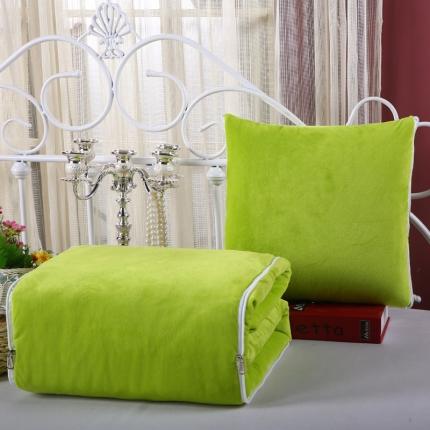 甜家美居 宝宝水晶绒多功能一体抱枕被果绿色