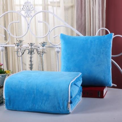甜家美居 宝宝水晶绒多功能一体抱枕被天蓝色