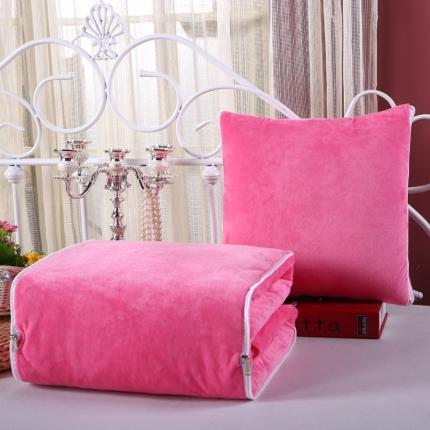 甜家美居 宝宝水晶绒多功能一体抱枕被粉红色