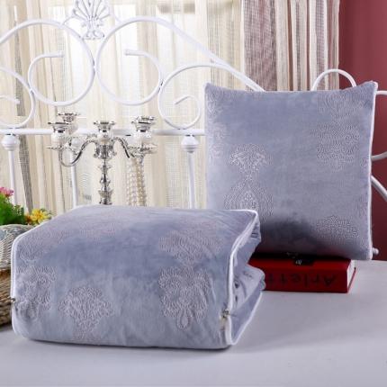 甜家美居 宝宝水晶绒多功能抱枕被 压花银灰色