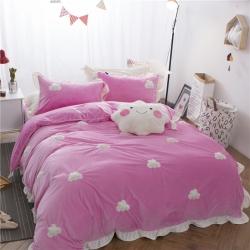 金盛皇朝家纺 3D立体绣云朵套件绒加绒四件套粉色