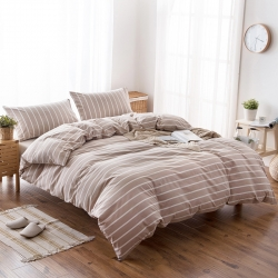 新棉坊 水洗棉四件套床单款浅咖白条