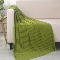 乐享生活 小麻花毯毛毯绿色