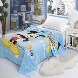 迪士尼家纺 柔软舒适法兰绒毛毯 蓝色米奇
