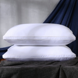 沃兰国际超柔素雅白立体磨毛羽丝绒枕芯护颈安睡枕头