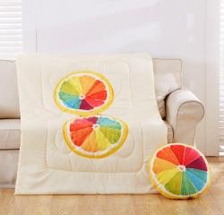 (总)布语家纺 3D水果两用抱枕沙发办公室午休枕头 绗缝被