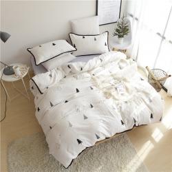 静家居 工艺款简约宜家风四件套比水洗棉更舒服的双层纱黑白森林