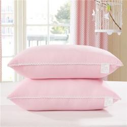 花边水洗棉枕芯-粉色