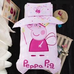 乐秀家纺 全棉卡通幼儿园被子三件套纯棉六件套含芯 天使佩奇
