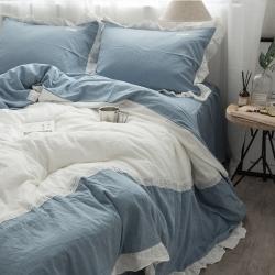 (总)韩风水洗棉床裙四件套
